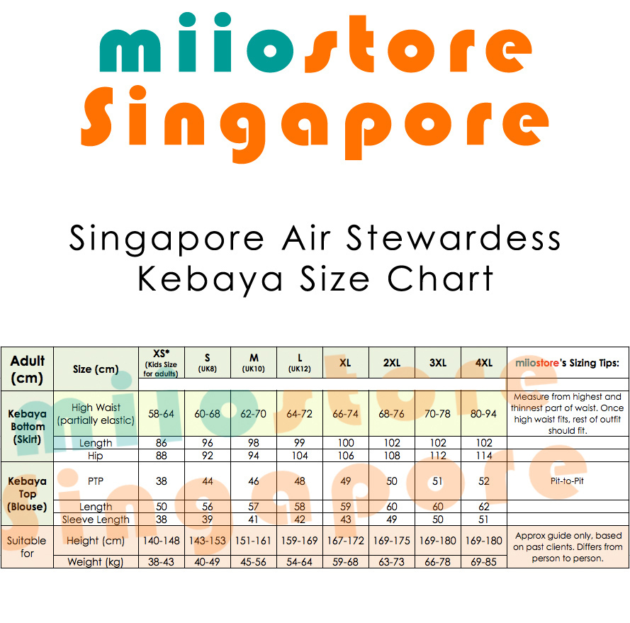 miiostore Singapore Air Stewardess Kebaya Size Chart SQ