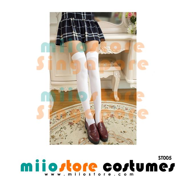 White Classic Knee High Stockings - miiostore Costumes SIngapore - ST005